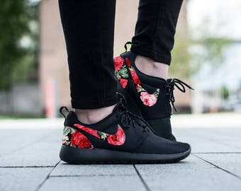 Nike Roshe Triple Black with Custom Red Pink Green Rose Floral Fabric Design