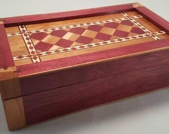 Wooden Inlay Box, Wooden Box, Keepsake Box, Desk Accessories, Valet Box