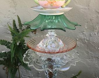 Miniature Tea Pot Totem, Garden Art, Vintage Glass