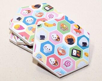 Kawaii Food Hexagon Coaster | Single Coaster | Cute Food with Faces Ceramic Tile Coaster | Housewarming Gift | Japanese Food Drink Coaster