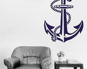 Wall Vinyl Decal Art  Nautical Anchor Stencil Sea Ocean Nautical Decor for Seagoing Ship (2700dn)