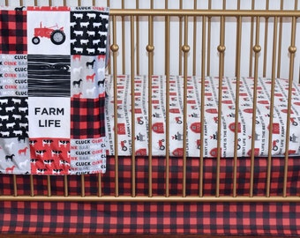 3 PIECE SET - farm life in red and black, cows. sheet, rooster, barn, baby boy nursery, dusty blue nursery, bumpers, quilt, sheet
