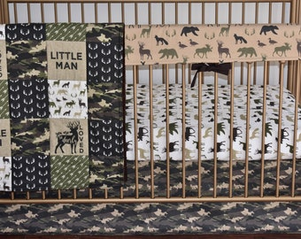 CUSTOM BEDDING - Camouflage crib bedding, Lumberjack, camo,  woodland nursery,  modern nursery, quilt, bumpers, deer, skirt