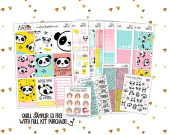 Vertical Sticker Kit   Weekly Sticker Kit   Planner Sticker Kit   Panda Bear Stickers   Kawaii Stickers   Adulting Stickers