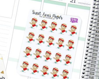 Sloth Planner Stickers - Running Stickers - Fitness Planner Stickers - Running Stats Stickers - Character Sticker - 594 - Clearance Stickers