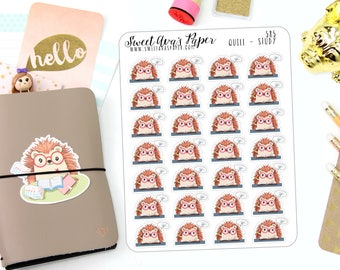 Study Planner Stickers - Reading Stickers - School Stickers - Library Stickers - Book Stickers - Hedgehog Stickers - Character Sticker - 585
