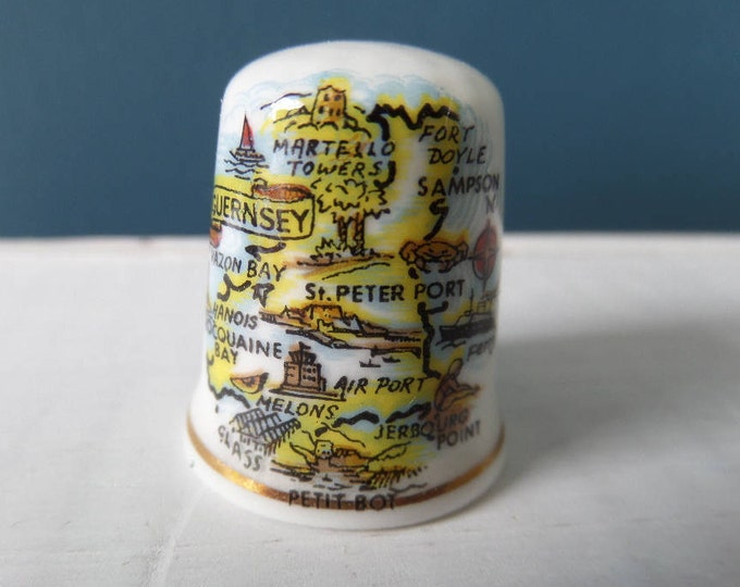 """Porcelain Thimble, Guernsey, Channel Islands, Fine Bone China, Made in England, Excellent Condition, 1"""" x 0.75"""", Circa 1980, Souvenir"""