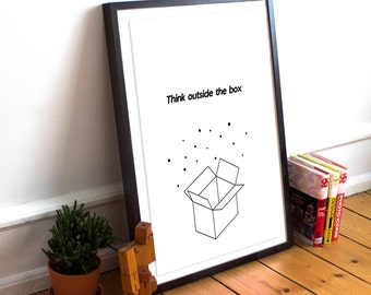 Printable Wall Art Prints, Instant Download Printable Art,Think outside the box,Printable Quotes,Inspirational, Quote,Minimalist,Modern