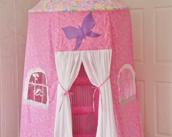 Princess Play Tent, Pink Castle Tent, Fabric Playhouse for Kids