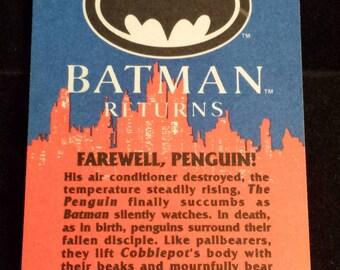"""Vintage 1992 Topps Batman Returns Trading Card, """"Farewell, Penguin!"""" #88"""