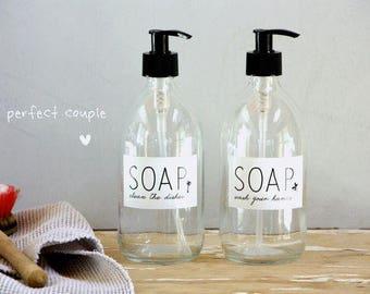 Set Of 2 Soap Bottles, Soap Dispenser, Bottle, Hand Soap, Glass Bottle