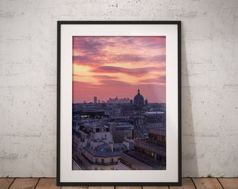 Roofs of Paris, Paris Photography, La Défense, Night, Skyline, Wall Art Print, Paris Home Decor, Art Paris, Gift, Cityscape, Urban