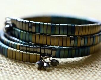 Double Memory Wire Wrap Bracelet, Wrap Bracelet, Memory Wire Bracelet,  Women's Bracelet, Boho Bracelet, Bohemian Jewelry