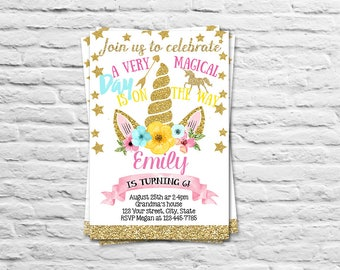 Printable Unicorn Birthday Party invitation for a girl - Unicorn b-day invite card gold pink - 1st birthday unicorn  (2017-03)