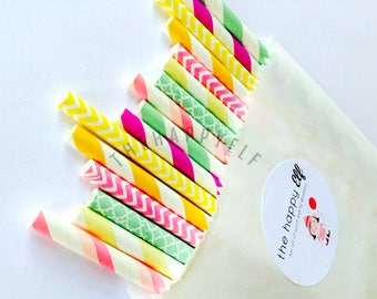Summer Squeeze. Paper Straws. Pink. Yellow. Lime Green. Party Decor. Summer. Citrus Colors. Pink Lemonade.