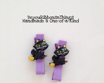 Cat on Broom | Hair Clips for Girls | Toddler Barrette | Kids Hair Accessories | Lavender Grosgrain Ribbon | No Slip Grip | Halloween