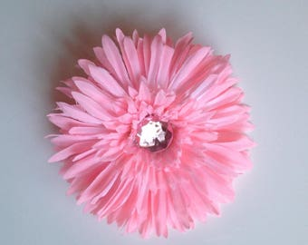 "Spiky Pink Flower 4.75"" | Hair Clips for Girls | Toddler Barrette | Kids Hair Accessories | Grosgrain Ribbon | No Slip Grip"