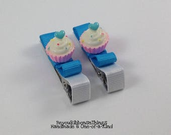 Cupcakes | Blue Hearts | Hair Clips for Girls | Toddler Barrette | Kids Hair Accessories | Grosgrain Ribbon | Flatback| No Slip Grip