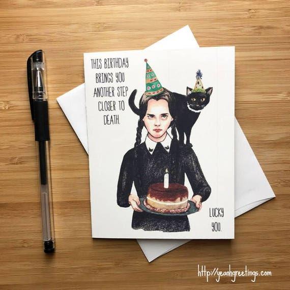 Addams Family Birthday Card Wednesday Addams Adams Family
