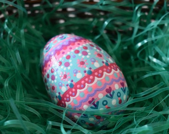 Hand painted dots and flowers in aqua and pinks wooden egg