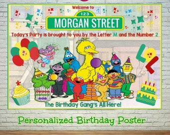 Personalized Sesame Street Birthday Printable Poster, Sesame Street Backdrop, Sesame Street  Birthday Sign Printable, from 11x17""