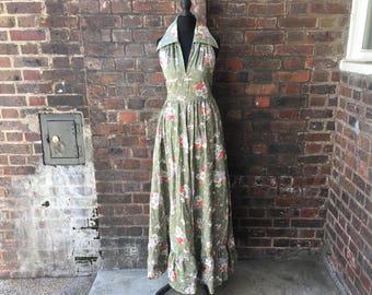 Vintage 1970s Floral Halterneck Maxi Dress    Vintage Boho Dress