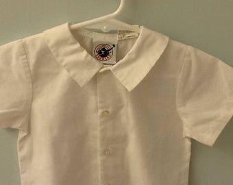18 Month Boy's White Short Sleeve Shirt