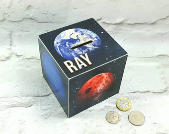 Personalised Planets Money Box, Space Piggy Bank, Celestial Gifts, Trainee Astronaut Gift, Galaxy Box, Christmas and Birthday Gifts