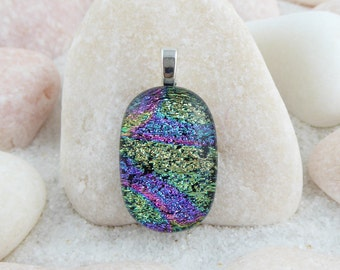 Fused glass dichroic pendant, green and pink pendant, small dichroic pendant, dichroic necklace, yellow and purple pendant