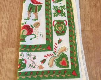 Scandinavian Style Vintage Linen Kitchen Towel | Pennsylvania Dutch Folk Art Textile Decoration