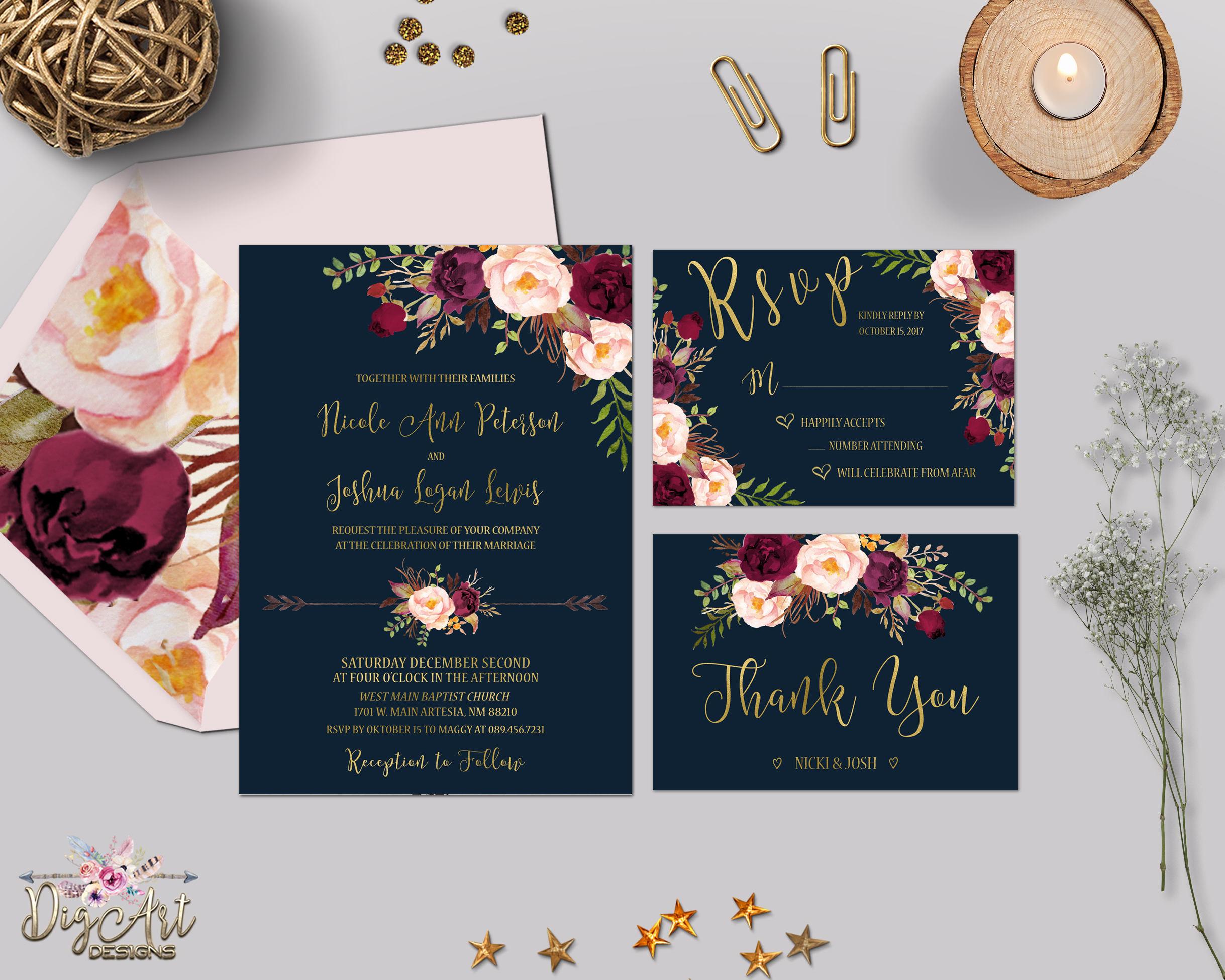 Navy And Gold Wedding Invitations: Navy Burgundy Gold Wedding Invitation Printable Boho Floral