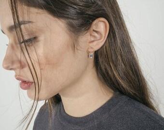 Circle stud earrings - dangling cz studs - minimalist earrings - O stud earrings - dangling cz earrings - open circle stud earrings