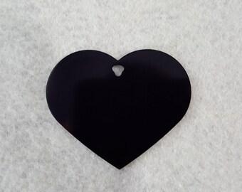 Engraved ID Tag, Computer Tag, Luggage Tag, Engraved Tag. Big Black Heart Tag
