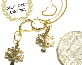 Miniature Tree of Life Earrings, Tiny Rhinestone Earrings, Trendy Stylish Gift, Gift for Her, Dainty Earring, Girlfriend Gift, Earrings Gold