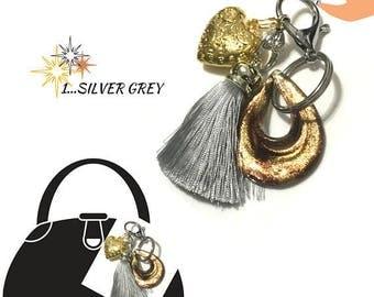 Silver Grey Tassel Key Ring, Copper Bag Charm, Gold Heart Dangle, Variety Key Ring, On Trend Gift, Stylish Gift, Teacher Xmas Gift,