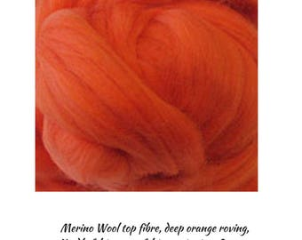 Deep Orange Merino Wool is a Great Fibre for Top Quality Roving Projects, 200g One Only, Excess Stock, DETASH