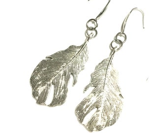 Antique Silver Feather Earrings, Dangle Feather Earrings, Good Friend Gift, Gal Pal Gift, Silver Drop Feather Earrings, Free Local Shipping