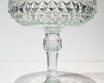 Indiana Glass Diamond Point Pattern Candy Dish, Vintage Clear Glass Pedestal Compote, 1950s Crystal Clear Diamondpoint Glass Candy Bowl