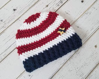 Crochet American Flag Baby Hat, Patriotic Hat, Fourth of July, Red White and Blue Stripes Hat, Olympics Hat, Baby Flag Hat, MADE TO ORDER!