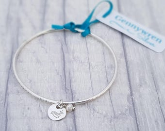 Silver  Bangle with Bird & Pearl Charm