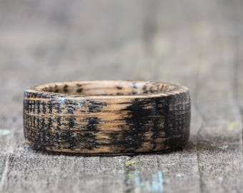 Black Whiskey Barrel Wood Ring - Tennessee Whiskey Barrel Ring Black Dyed Wooden Mens Wedding Band Engagement Ring Womens Wood Anniversary