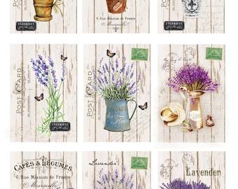 Digital Image Provance Lavender Cards 3 - Digital collage sheet, Printable Download, Digital Tags, Digital Vintage, ATC Card, Vintage Cards