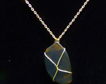 Imitation Sea Glass Wire Wrapped Pendant