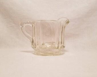 CREAMER HEISEY Heavy Clear Flat Panel Glass Hexagon Bowl Set Antique Vintage Retro