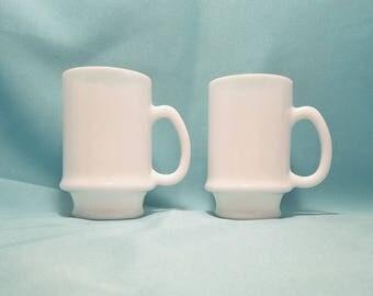 MUG COFFEE CUP Milk Glass Plain Tall set of 2 Kitchen Vintage Retro
