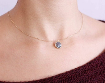 Gemstone Necklace, Gold Gemstone Necklace, Gold Labradorite Necklace, Labradorite Pendant, Labradorite Jewelry, 14K Gold Necklace, GN0341
