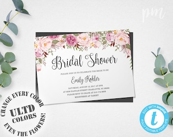 Bridal Shower Template Rustic Floral Bridal Shower Invitation Template Printable