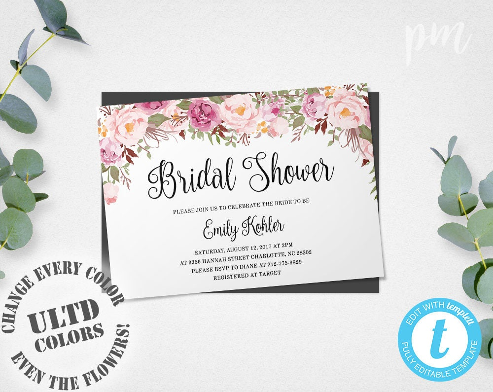 wedding shower invitation template floral bridal shower invitation template printable bridal 1153