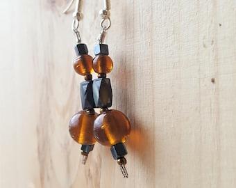 Burnt Orange Beaded Drop Earrings