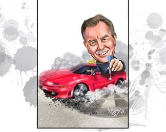 Custom Caricature -single person - perfect Gift for Him for birthday, retirement- whenever!